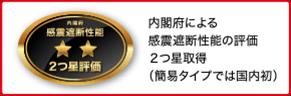 内閣府による感震遮断性能の評価2つ星取得(簡易タイプでは国内初)